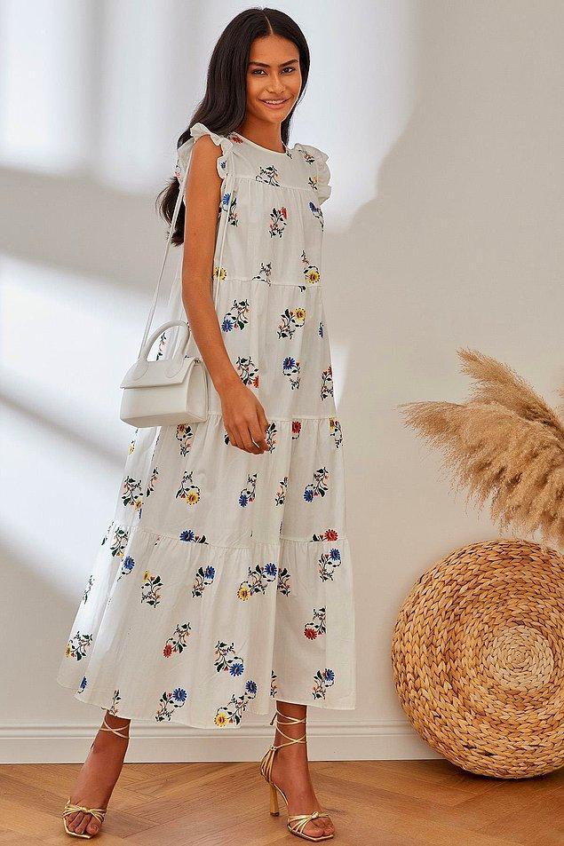 7. Çiçek desenli elbise sevenler bu poplin elbiseye bayılacak bence...