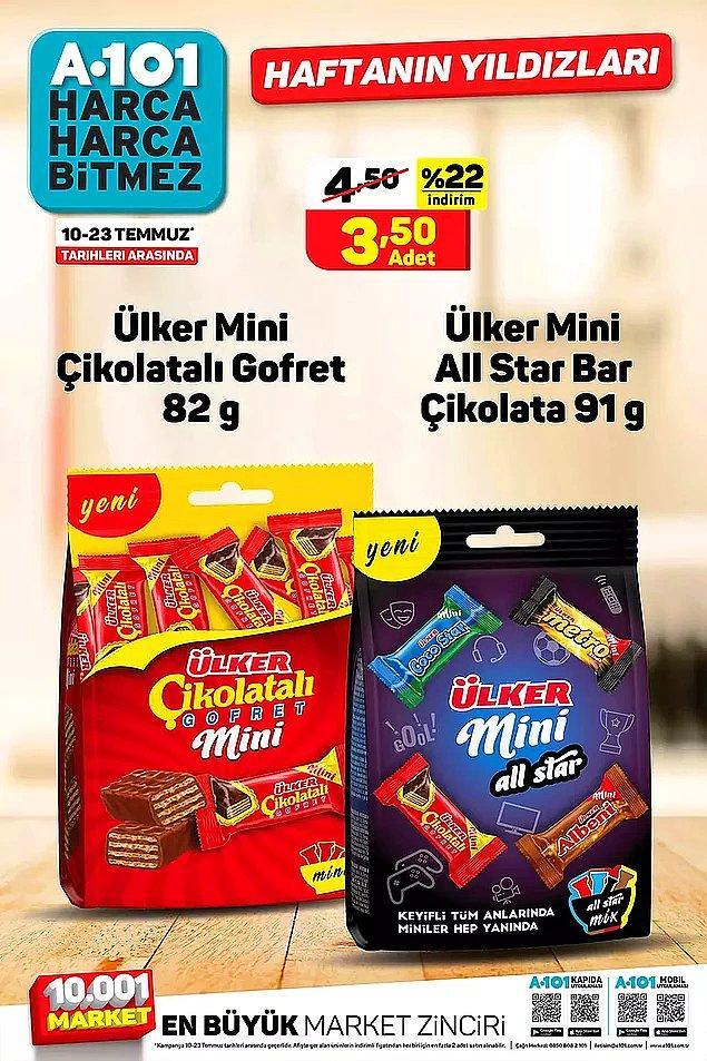Ülker mini çikolata paketleri 3,50 TL.