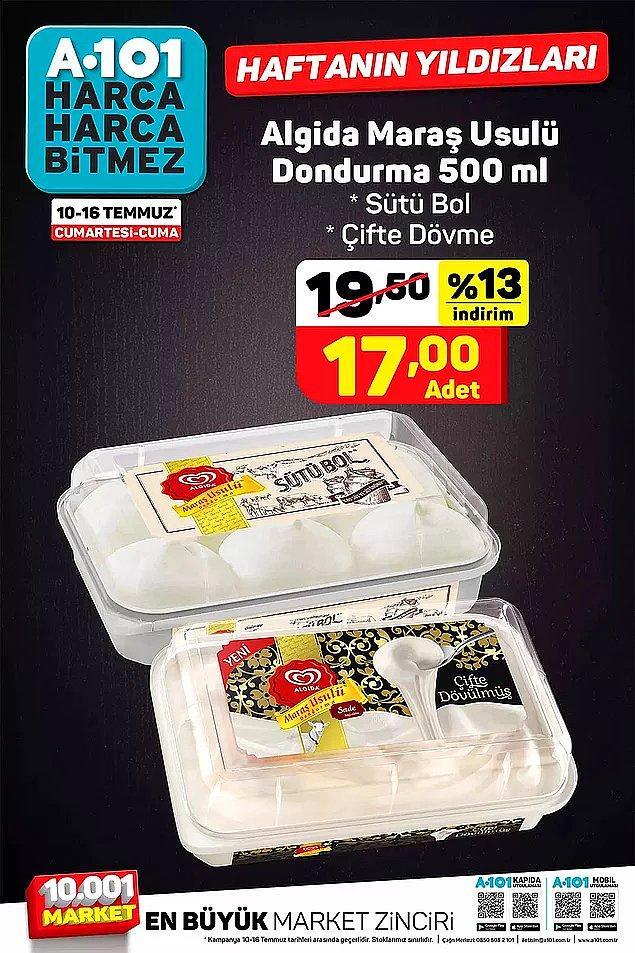 Maraş usulü dondurma çeşitleri 17 TL.
