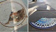 Художник ремонтирует потрескавшиеся тротуары, выбоины и здания, используя яркую мозаику, и вот 15 его лучших работ