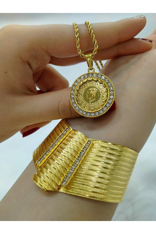 11. Altın kaplama Trabzon kelepçe hasırı ve altın görünümlü zincir kolyesi ile iddialı bir set daha...