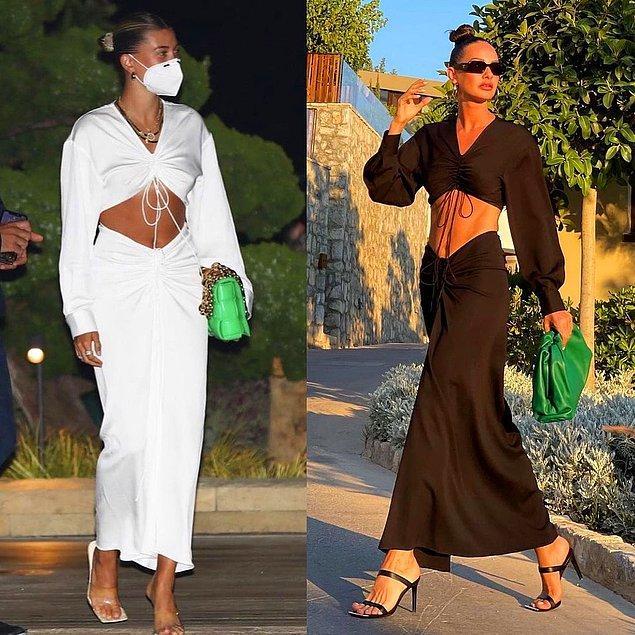3. Candice Swanepoel'den Hailey Bieber'a pek çok ünlünün giydiği ve başka markaların da benzerlerini ürettiği bu elbiseyi ülkemizden de Yasemin Özilhan giymişti.