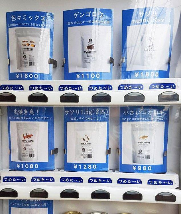 13. Otomatlardan kurutulmuş böcek alabilirsiniz.