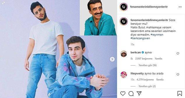 """Bu benzerliği paylaşan bir Instagram sayfasına """"aynısı"""" yazan Berkcan Güven bir de story attı."""