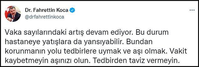 Koca'nın Twitter paylaşımı 👇