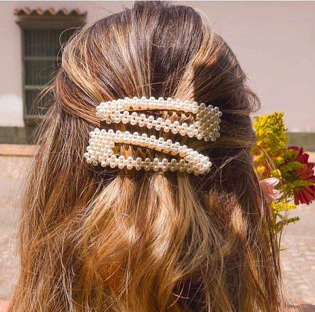 5. Bu yılın modası inciyi saçınızda da kullanabilirsiniz.