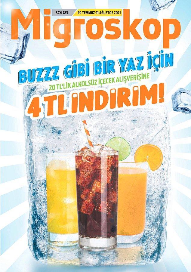 Migros'ta bu hafta serinleten içeceklerdeki indirimler dikkat çekiyor.