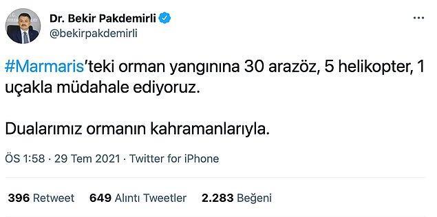 Bakanın paylaşımı ise böyle. Paylaşımda tepki çeken ise Türkiye gibi büyük ve riskli bir ülkedeki yangın söndürme ekipmanının yetersiz oluşuydu.