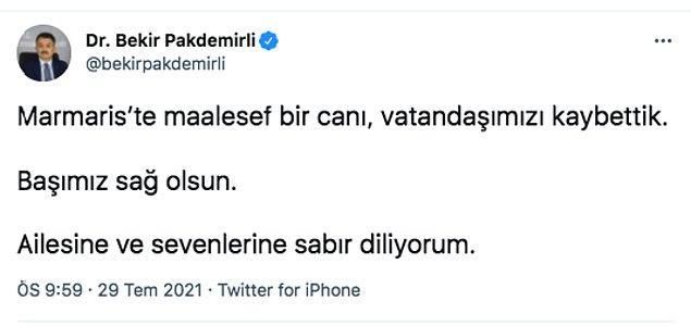 Marmaris yangınıyla ilgili kara haberler de maalesef gelmeye başladı. Tarım Bakanı Bekir Pakdemirli, yangında bir vatandaşın hayatını kaybettiği bilgisini Twitter hesabından paylaştı.