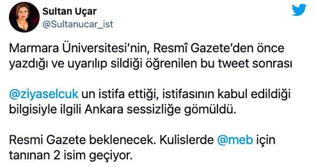 Sözcü gazetesi yazarı eğitim editörü Sultan Uçar'ın Twitter hesabından yaptığı paylaşım