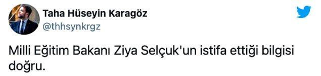 Yeni Şafak muhabiri de Selçuk'un istifa ettiğini duyurdu