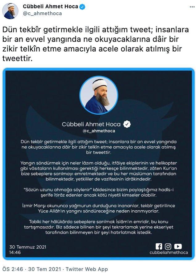 Cübbeli Ahmet Hoca'nın açıklamaları 📌