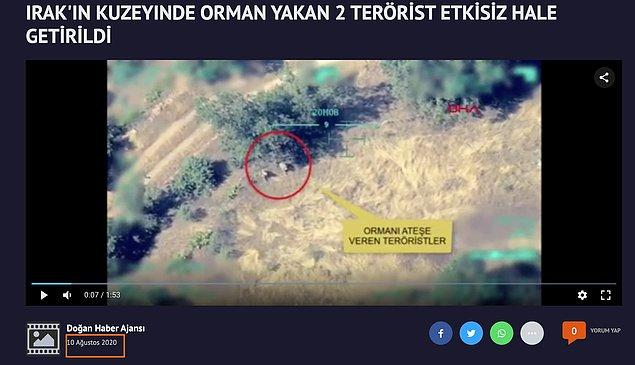 Türkiye'de olduğu iddia edilen video aslında 2020 yılında Irak'ın kuzeyinde çekilmiş.