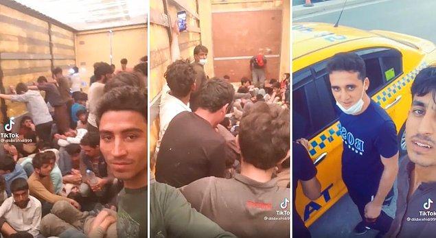 Yeniçağ Gazetesi muhabiri Berkay Bigeç tarafından sosyal medyada paylaşılan o görüntülerde, ilk önce onlarca insanın bir TIR veya kamyonun içinde olduğu görülüyor.