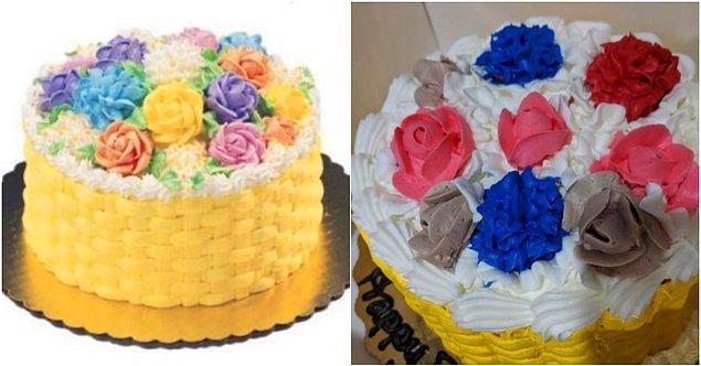 """10. """"Geçen yıl kızımın doğum günü için sipariş ettiğim pastanın reklamı ve bize gelen pasta."""""""