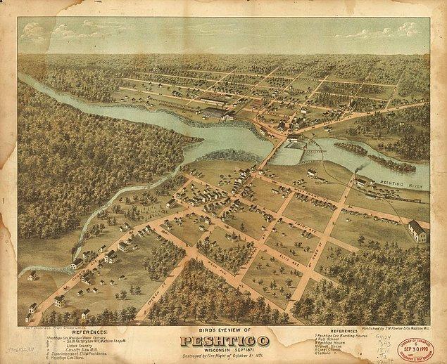 Peshtigo, etrafı sık ormanlarla çevrili tomruk üretimiyle ünlü bir kasabaydı.