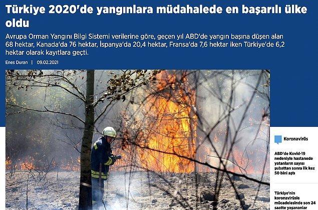 6. Yangınla mücadeledeki iddiamızı yansıtan bir Anadolu Ajansı haberi daha...