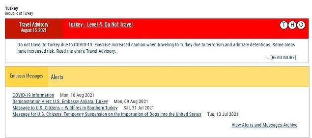 """ABD, Türkiye'yi """"Seviye 3: Seyahati gözden geçirin"""" listesine eklemişti. Yeni uyarıda ise Türkiye """"Seviye 4″e alındı ve """"Seyahat etmeyin"""" uyarısı yayınladı."""