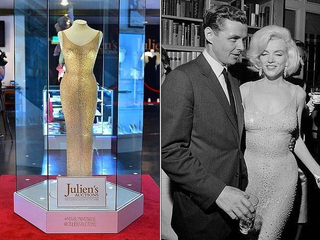 """1. Marilyn Monroe'nun, Başkan John F. Kennedy'ye """"Happy Birthday, Mr. President"""" şarkısını söylerken giydiği elbise."""