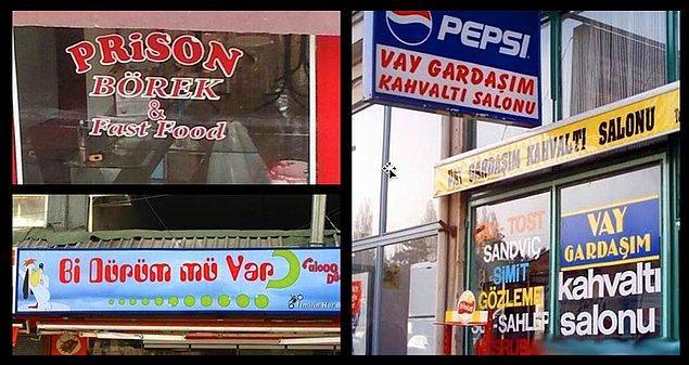 4. Dükkân tabelasıyla mesaj veren mizahşörler