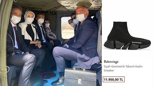 Çalık'ın törende giydiği 11 bin 950 TL'lik Balenciaga marka ayakkabılar ise sosyal medyada gündem oldu.