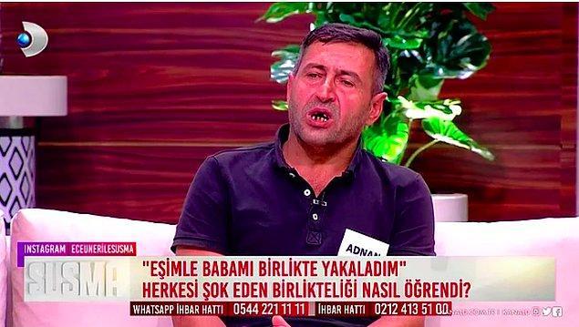 Programa katılan Adnan bey, kendi evinde hem de çocuklarının bulunduğu odada eşi ve öz babasını ilişkiye girerken yakaladığını söylemişti.