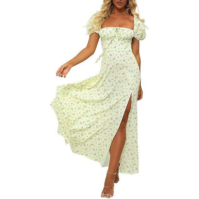20. Büzgülü yaka ve puf kollu elbise ile hala ortamlarda hava atabilirsiniz! 😏
