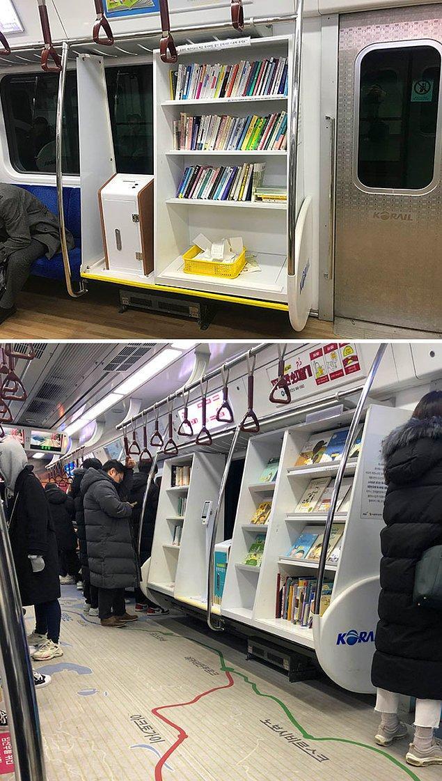 4. Seoul'daki bu metroda minik bir kütüphane bulunuyor.