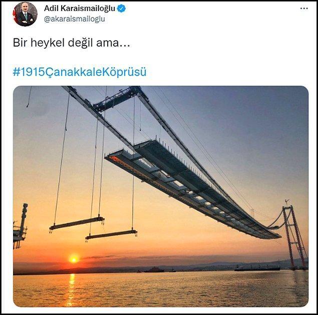 """Ulaştırma ve Altyapı Bakanı Karaismailoğlu, yapımında sona yaklaşılan köprünün bir fotoğrafını """"Bir heykel değil ama..."""" notu ile Twitter hesabından paylaştı. 👇"""