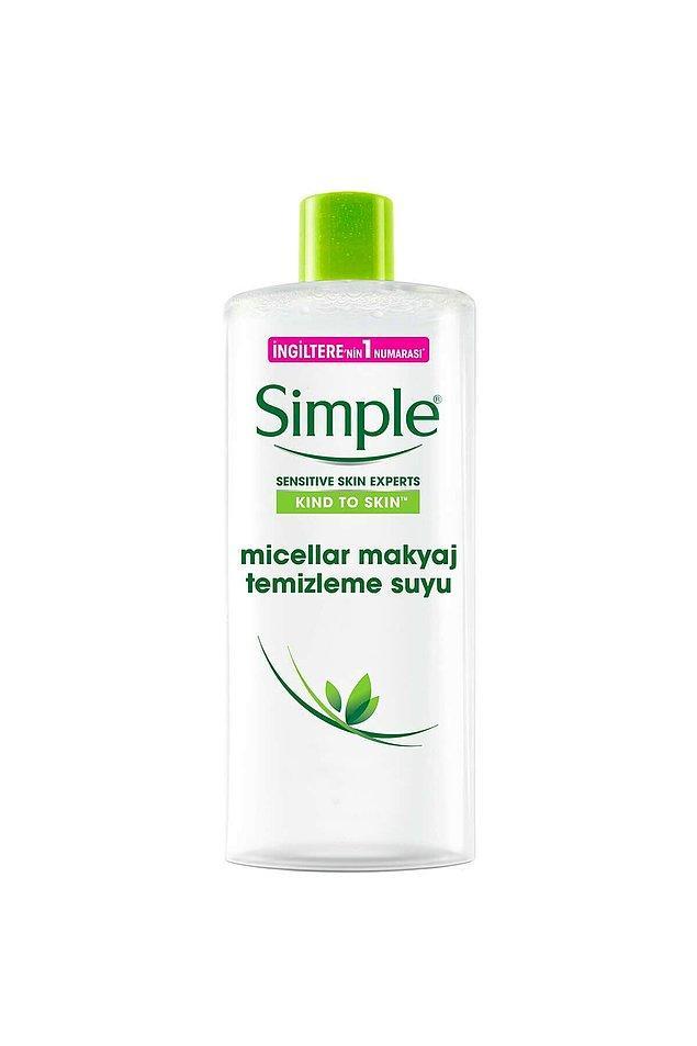 1. Hassas ciltler için makyaj temizleme suyu arayanlara önerim Simple makyaj temizleyici.