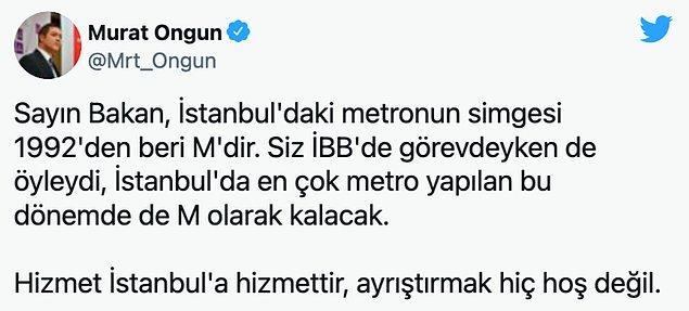 İBB Sözcüsü Murat Ongun 1992 yılından beri kullanılan logonun değiştirilmesini ayrıştırma olarak yorumladı.