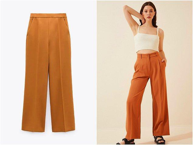 10. Geniş paça pantolonu Zara'dan 300 TL'ye, Happiness İst.'ten ise 80 TL'ye alabilirsiniz!