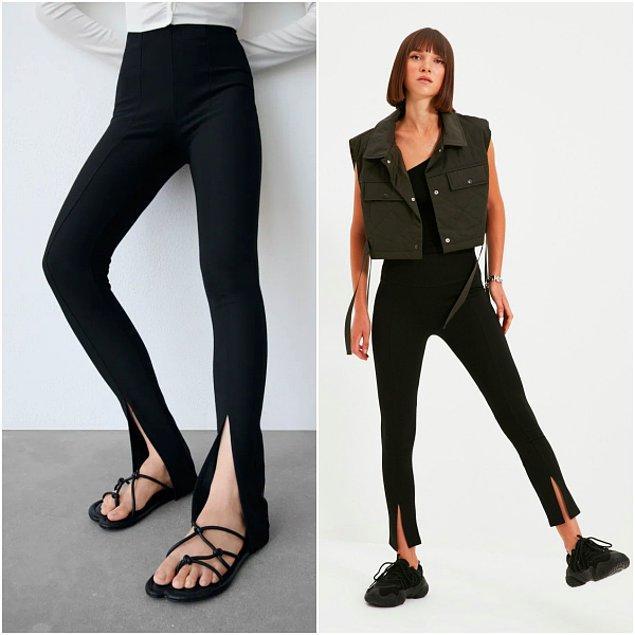 9. Bu sezonun modası yırtmaçlı taytlar Zara'da 200 TL iken, Trendyolmilla'da sadece 70 TL!😍