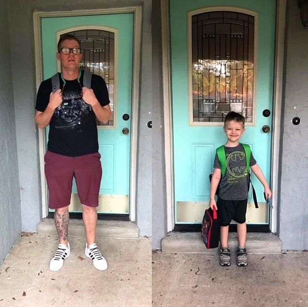 6. Aynı zamanda okula başlayan baba ve oğul...