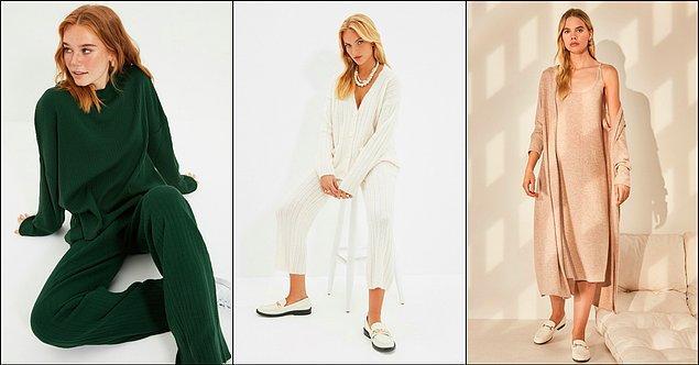 11. Yumuşacık triko takımlar ile mevsim geçişleri giyinmek çok kolay bir hâl alıyor. İster etekli, ister pantolonlu...