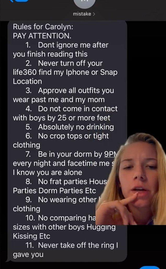 Liste şöyle başlıyor; 'Carolyn İçin Kurallar' ve devam ediyor;