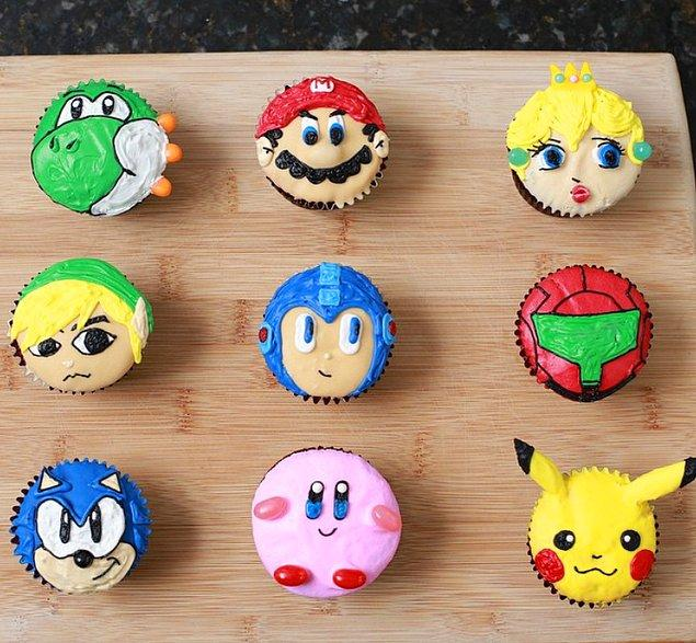 1. Super Mario'dan tutun da Sonic'e, Kirby'den tutun da Megaman'a kadar oyun dünyasından pek çok karakter bu sevimli cupcake'lerde kendilerine yer bulmuşlar.