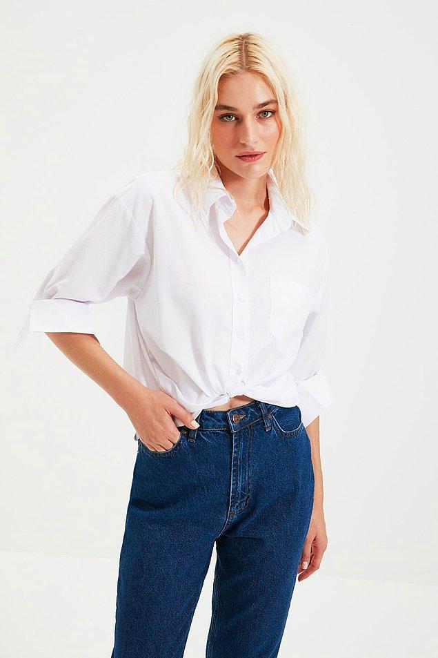 5. En çok satan boyfriend model beyaz gömlek her gardırobun ihtiyacı...
