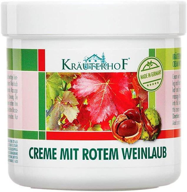 7. Krauterhof kırmızı asma yaprağı ve at kestanesi ekstreli ayak ve bacak kremi, yorgun bacak ve ayaklarınıza yeniden canlılık kazandıracak!