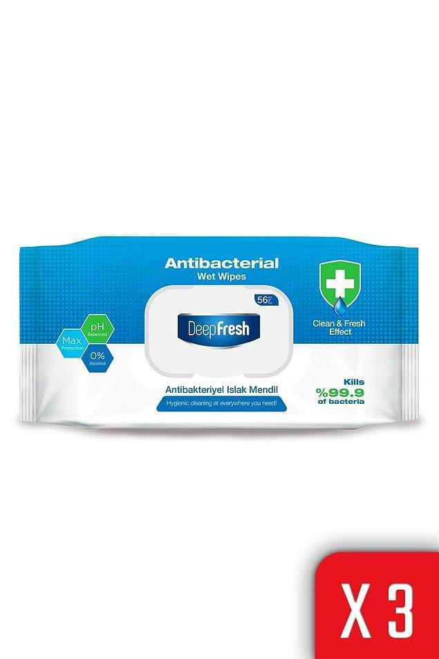 12. Deep Fresh antibakteriyel ıslak mendil, lalın ve yeterli ıslaklıktaki mendilleri ile etkili bir temizlik sağlar.