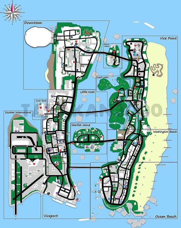 8. Knedi şehrimizden daha iyi bildiğimiz Vice City sokakları.