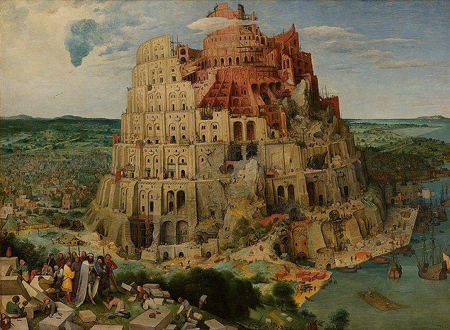 Görmüş olduğunuz bu tablo Pieter Bruegel'e ait. 1563 yılında çizildiği tahmin edilen eserin başlığı ise 'Babil Kulesi'.