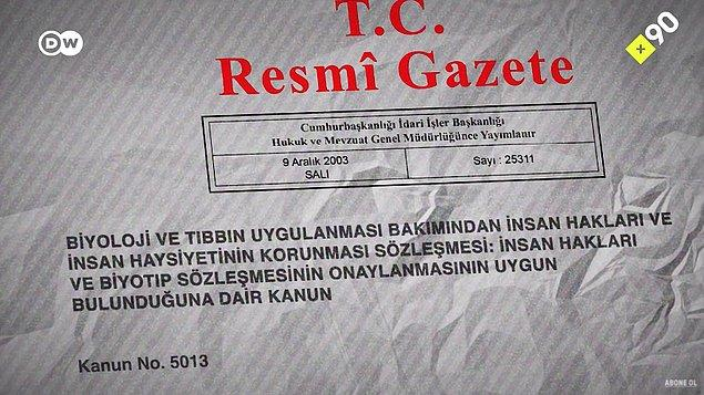 Kanun 'evliyse, eşin rızası gerekli' diyor ancak Türkiye, Uluslararası Biyotip Sözleşmesi'ni imzaladı. Bu sözleşme de 2003 yılında kanunlaştı.