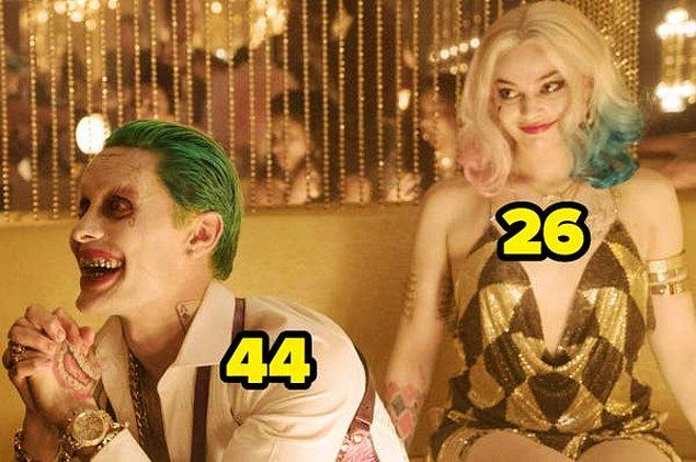 10. Suicide Squad: Gerçek Kötüler çekildiği sırada Margot Robbie 26 yaşındayken, efsanevi karakter Joker'i oynayan Jared Leto 44 yaşındaydı.