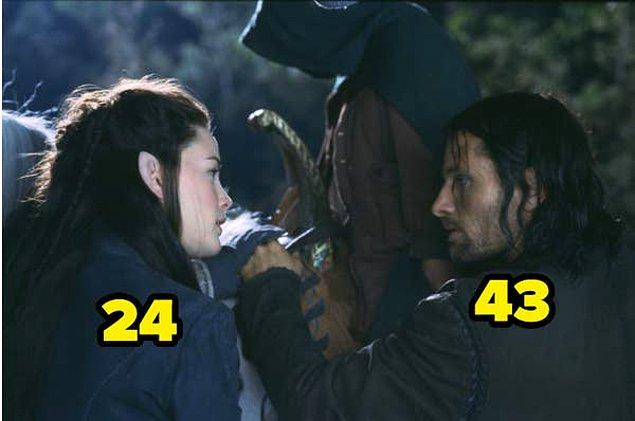 30. Ve son olarak, Yüzüklerin Efendisi: Yüzük Kardeşliği filminde Viggo Mortensen 43 yaşındayken, Liv Tyler 24 yaşındaydı.