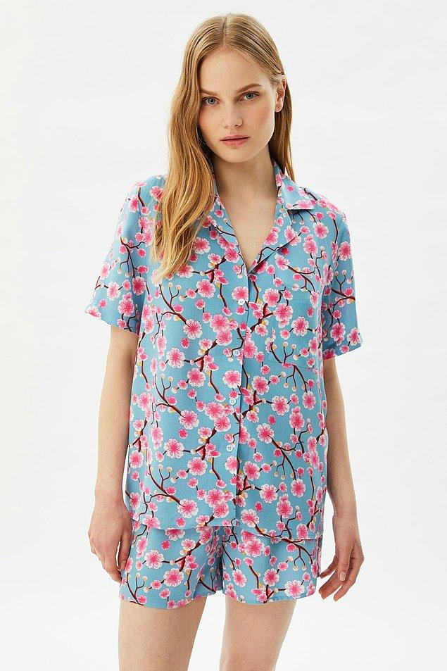 8. Cıvıl cıvıl tam yazlık bir pijama 🌸