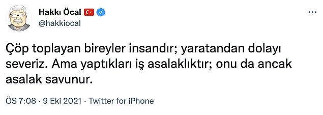 Bunun üzerine bugün iktidara yakınlığıyla bilinen gazeteci Hakkı Öcal bir tweet attı...