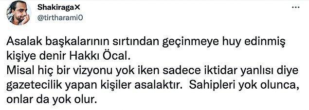 Öcal'ın attığı tweet, 'asalak'ın kelime anlamı üzerinden eleştirildi...