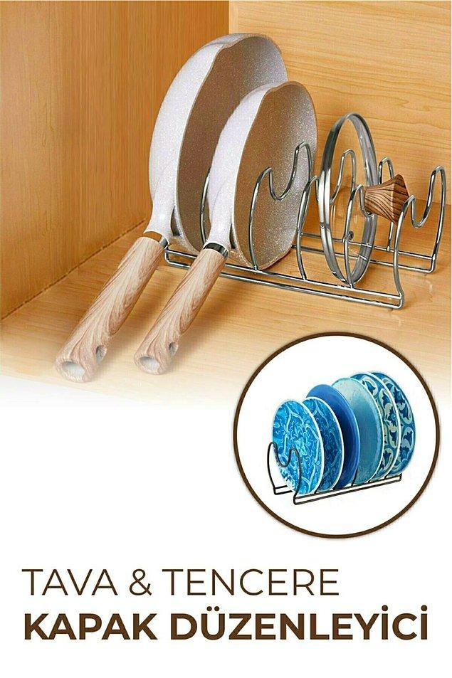 9. Tava ve tencere kapağı düzenleyici ile mutfak dolabınızda yer açın...
